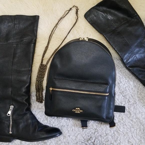 6271bc699fdd Coach Medium Charlie Backpack Black Gold Leather